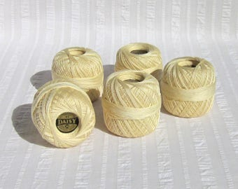 Five skeins of vintage Daisy brand, Mercerized Crochet cotton, ivory color, 350 yards, size 30, Lily Mills Co., Shelby, N.C., pre-1974.