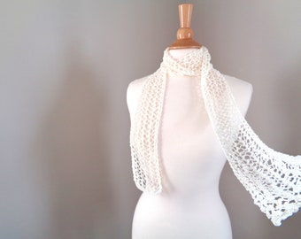 Off White Skinny Scarf, Hand Knit, Women Teen Girls Summer Scarf, Lacy Mesh Neck Scarf, Silky Cotton, Gift for Her, Ivory