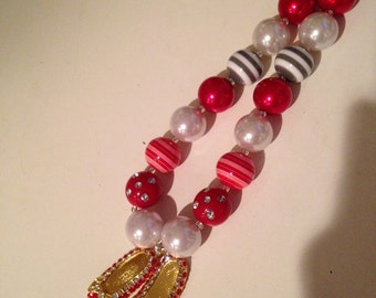 Red slippers Wizard of Oz inspired chunky bubble gum necklace