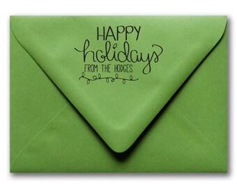 Custom Holiday Stamp, Holiday Stamp, Custom Christmas Stamp, Hand Drawn Stamp, Hand Lettered Stamp