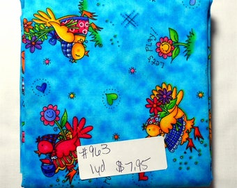 Fabric -1 yard piece -Country Kids-Blue Country/Farm Chicks/chicks/hearts/eggs/bow/butterfly/flower/cat/boys/girls/xoxoxoxo/yee haw! (#963)