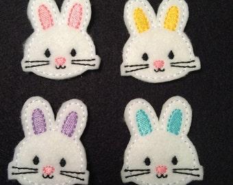 Easter Bunny Rabbit Pastel You Choose Color Embroidered Felt Applique