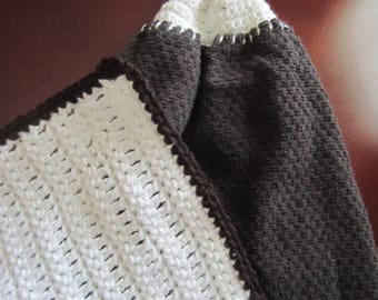 Dark Brown Cotton Double Sided Hanging Towel With Matching Dishcloth