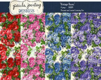 Vintage Roses Digital Download, Printable Paper, Ephemera, Texture Download, Scrapbook Paper, Smashbook Paper, Rose Background