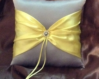 Yellow and gray ring bearer pillow