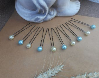 Hair pins, hair - 5 ivory pearls and 5 blue beads