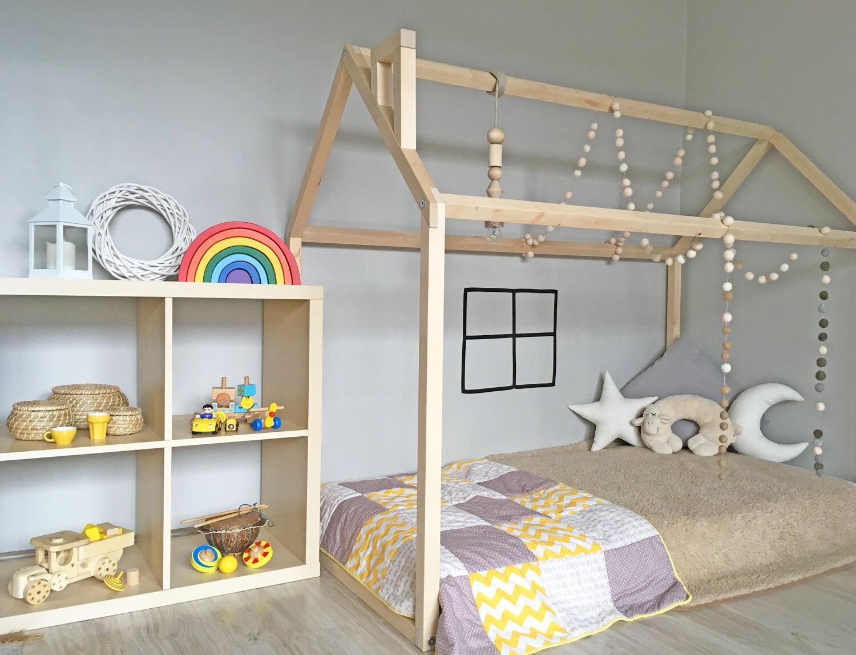 Kinderbett spielhaus  Montessori-Bett Kleinkind-Bett-Haus-Rahmen Boden-Bett Holz