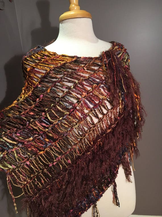 Woven Fringed Poncho, Shaggy Chic,  'Autumn Harvest', boho chic, Multitextural Fringed Knit Poncho, brown gold mauve, shoulder wrap