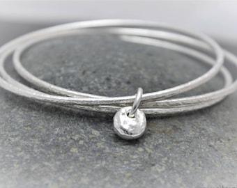 Silver Pebble Charm Bangle, Triple Bracelet, Textured Bangle, Beachy Bracelet, Coastal Bangle, Hammered Bracelet, Birthday Gift for Her