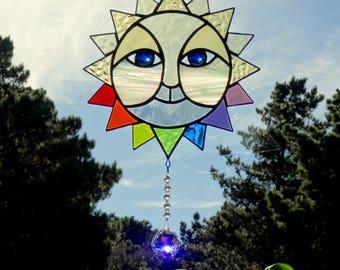 RAINBOW SUN Stained Glass Suncatcher Crystal Ball