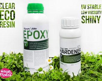 Eco Resina 1,43 kg Resina Epossidica Super trasparente e lucida,Stabile raggi Uv ,bassa viscosità'-Eco resina per creare gioielli