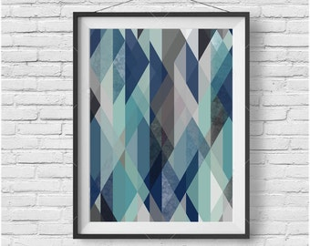 Geometric Print Blue Geometric Art Abstract Poster Scandinavian Print Blue Home Decor Colorful Print Retro Print Modern Art INSTANT DOWNLOAD