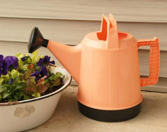 Vintage Watering Can, Plastic Sprinkling Can, Pink Black Plastic, Gardening Decor