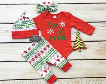 Unisex First Christmas Outfit,Red Infant Bodysuit, Red and Green Leggings,Hat and Headband With Red Cuffs, Baby's 1st Christmas Outfit