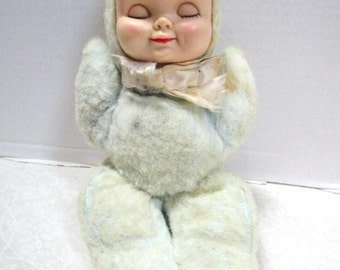 Vintage Wind up Musical Sleeping Baby doll, child security toy, stuffed plush toy, Love Worn, rubber face dolly, Sweet Shabby Lovey, Bantam