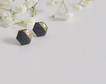 Hexagonal wooden stud earrings. Hexagon studs. Wooden earrings. Post earrings. Geometric studs. Minimal studs. Gold color earrings.