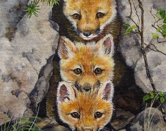 ORIGINAL ACRYLIC PAINTING ; free shipping, fox kits, nature, original art, 8 x 10 inches, canvas board, wildlife, wilderness,  Canadian art