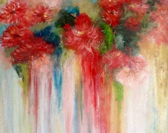 Abstract bouquet blossoming flowers acrylic on canva 73 x 57