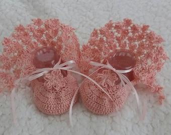 Handmade Crochet Baby Ballerinas French Rose  0-3 Months