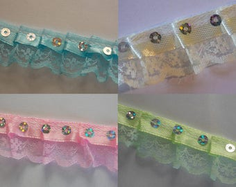 1 meter Ribbon with sequins and lace, pleated
