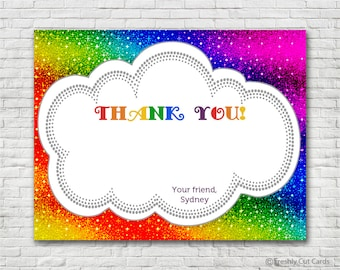 Sparkly Rainbow Thank You Card