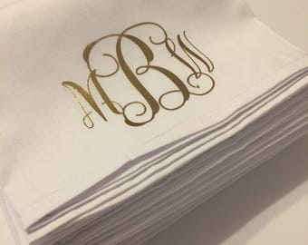 Pack of 12 highest quality dinner napkins in white with your monogram.  Perfect for weddings and special dinners.