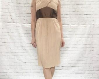 Vintage 50s Grecian Party Dress Pleated Wide Waist Surplice Sheath XXS XS