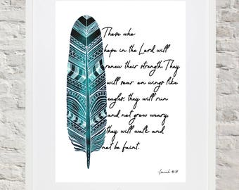 Watercolor Art - Isaiah 40:31 - Feather - Instant Download