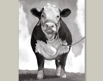 Hereford Cow Gallery Wrapped Canvas Print Multiple Size Options