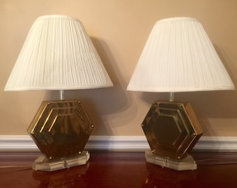 Vintage Geometric Brass and Lucite Table Lamps