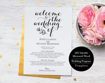 "Wedding Program Printable, Editable Wedding Program, Wedding Program Template, Rustic Wedding Ceremony Program,  5x7"", MSW195"