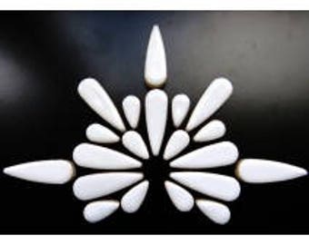 "White Glazed Ceramic TEARDROPS Mix (1"" & 1/2"") Flower Petals/Mosaic Craft Supplies"