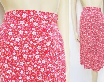 Boho Skirt, UK12, Floral Print, Red Skirt, Bohemian, Peasant Skirt, Hippy, Skirts, Summer Clothing, Vintage, Gypsy Skirt, Festival