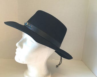 black wool cowboy hat with turquoise cabochons wool felt 70s 80s vintage western hat medium southwestern boho wpl4384 USA American made