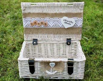 Shabby Chic Und Rustikal Korbweide Card Box, White Wedding Card Box,  Personalisierte Schatulle,