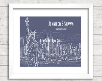 8x10 New York City Skyline Print - NYC - Statue of Liberty - Empire State - Personalized Print - NYC Engagement - Bridal Shower Gift