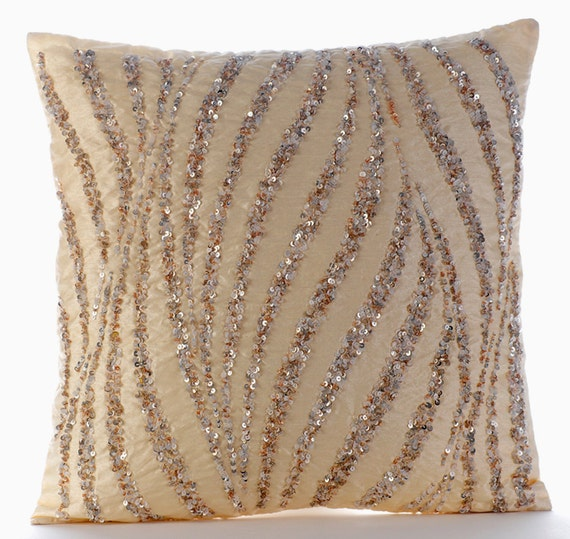 Handmade beige decorative pillow cover metallic sequins for Beige and gold pillows