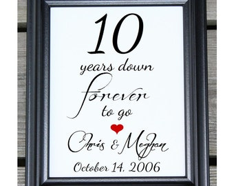 10 Years Down | 10 Years of Marriage | 10 Year Anniversary | 10th Wedding Anniversary | Ten Year Anniversary Gift  Her Him | Husband Wife