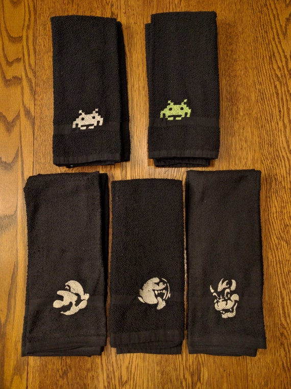 Mario Hand/Bar Towels  (2 hand towels, embroidered) (Mario, Bowser, boo, mariokart, gaymer, gamer, gaming, brothers, Space Invaders)