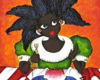 Prints:5x7 JOY Leaping Affirmation Natural Hair by karin turner KarinsArt  watermelon  african american