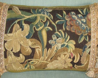 Antique Tapestry Pillow - Cushion - 18th Century Aubusson - Lilies