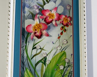 Orchids, Clay flowers, Oil painting, Original 3D, Home Décor, 23x13