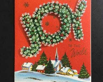 Vintage Christmas greeting card, Joy to the world, village, Bible Verses