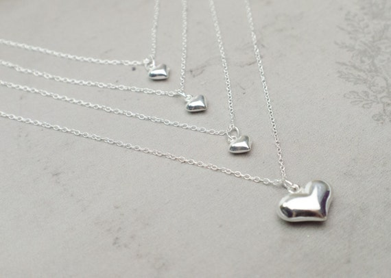 Silver Heart Necklaces | Mother Daughter Necklaces | Sterling Silver Necklaces | 1 to 4 Daughters | Mother's Day Gift | Tiny Charm Necklace