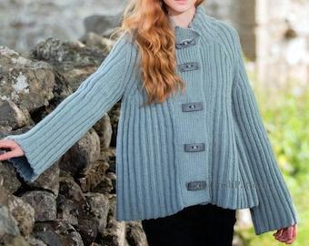 PDF Knitting Pattern for Aran Ribbed Flared Jacket Coat - Instant Download