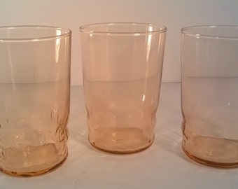 Set of 3 Vintage Peachy Pink Juice Glasses
