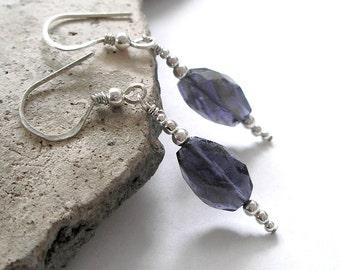 Blue Iolite Earrings September Birthstone Water Sapphire Sterling Silver Boho Jewelry