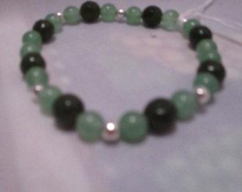 Emerald and Agate stretch bracelet