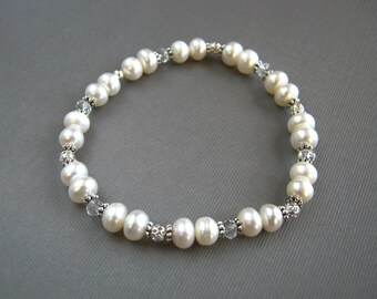White Pearl Wedding Bracelet White Freshwater Pearl Stretch Bracelet White Pearl Bridal Bracelet