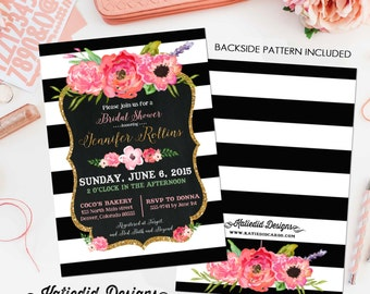 Couples bridal invitation floral chic black and white stripe Rehearsal Dinner two brides bridal shower party luncheon 363 Katiedid Designs